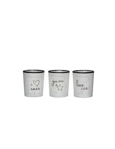Κηροπήγιο ποτήρι text λευκό χρ. 5.5Χ6.5
