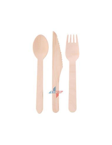 Μαχαιρι πηρούνιι κουτάλι ξύλινο s/3