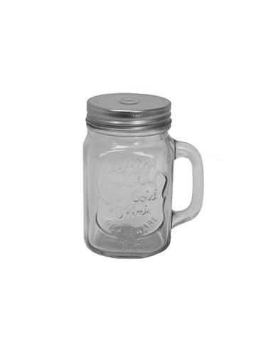 Ποτήρι γυαλ.λαβή & inox καπάκι 400ml